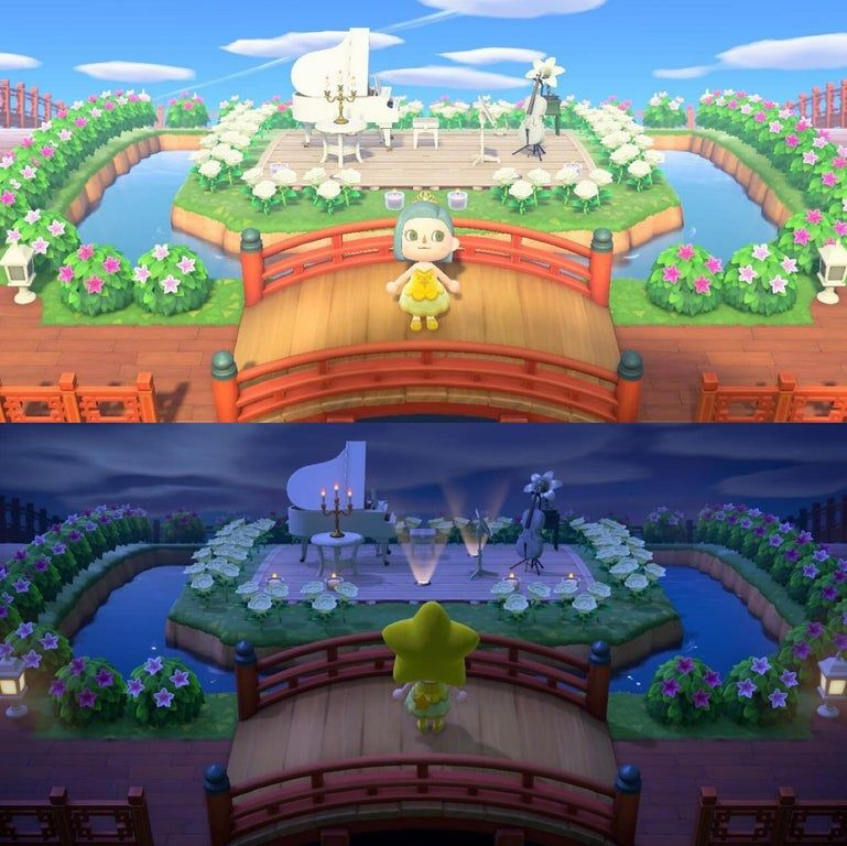 My outdoor concert park, day & night! AnimalCrossing in