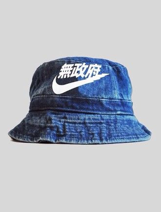 0437e223 hat bucket hat blue nike bucket hat denim denim bucket hat nike air nike  denim asian dope chinese writing chinese urban outfitters urban urban  menswear ...