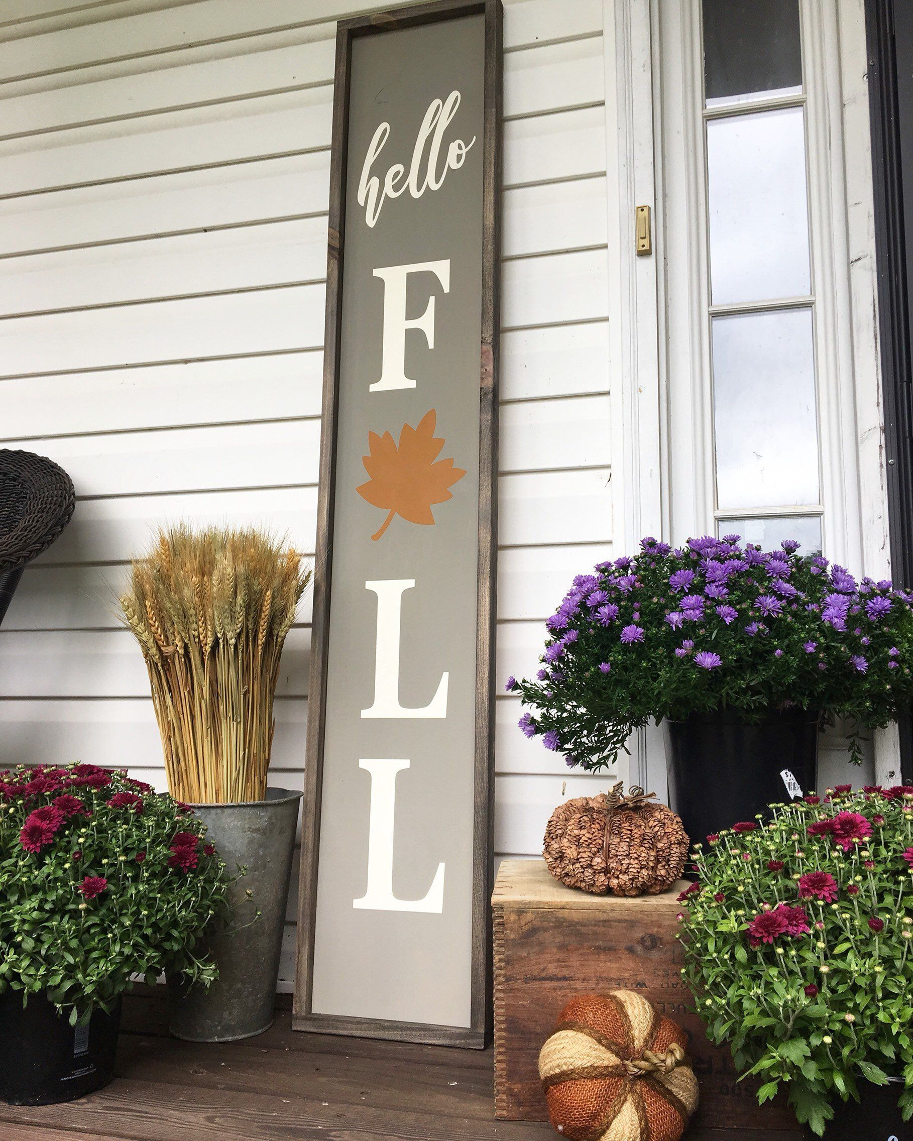 Hello Fall Fall Wood Sign Fall Decor Porch Signs Pumpkin Signs Hello Fall Sign Wood Signs Fall Wood Signs Fall Decorations Porch Fall Decor