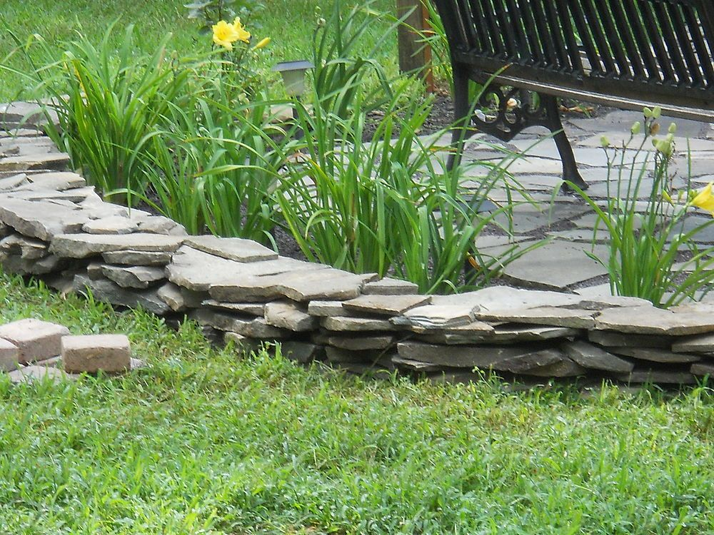 Flagstone Border Wall Landscape Edging Backyard