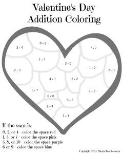 Valentine\'s Day Heart Addition Coloring Sheet Printable | 1st grade ...