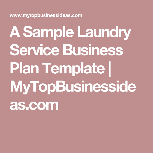 A Sample Laundry Service Business Plan Template