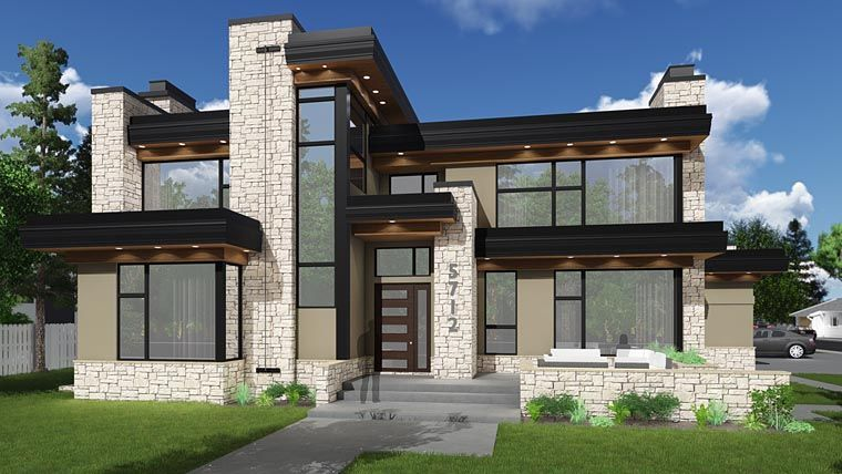 Modern Style House Plan 81189 With 3 Bed 4 Bath 4 Car Garage Modern Style House Plans Modern House Plan Modern Contemporary House Plans