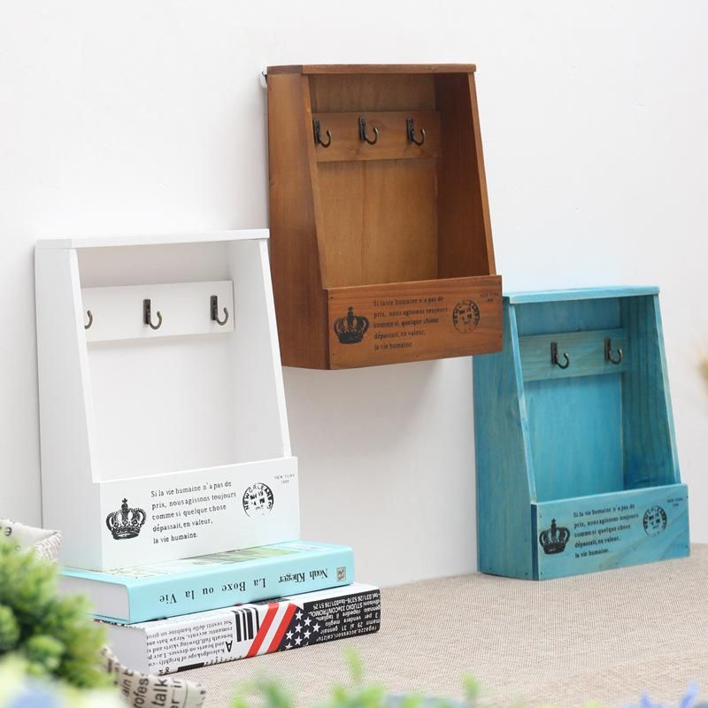 Decorative Key Box For The Wall Alluring Retro Wall Mounted Wooden Box Organizer Key Hanging Hooks Mail Box Design Decoration