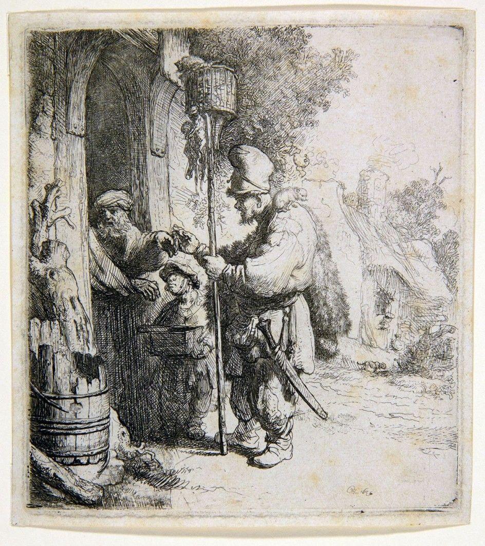 Rembrandt - De Rattenvanger 1632 Pinturas Grabados