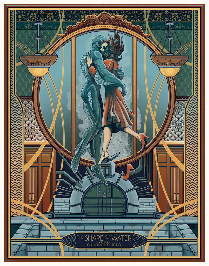 The Kiss The Shape Of Water Print The Shape Of Water Water Printing Art