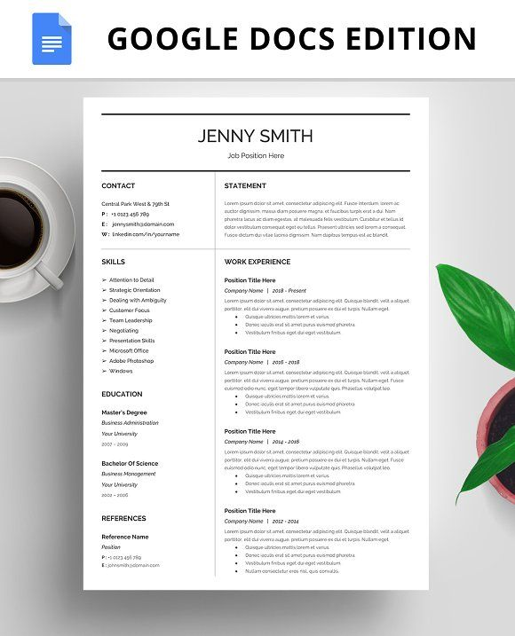 Resume Template, CV, Google Docs By@Graphicsauthor