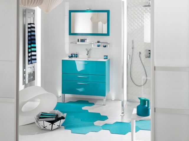 Salle de bains bleue delpha kids bathroom Pinterest Aqua decor