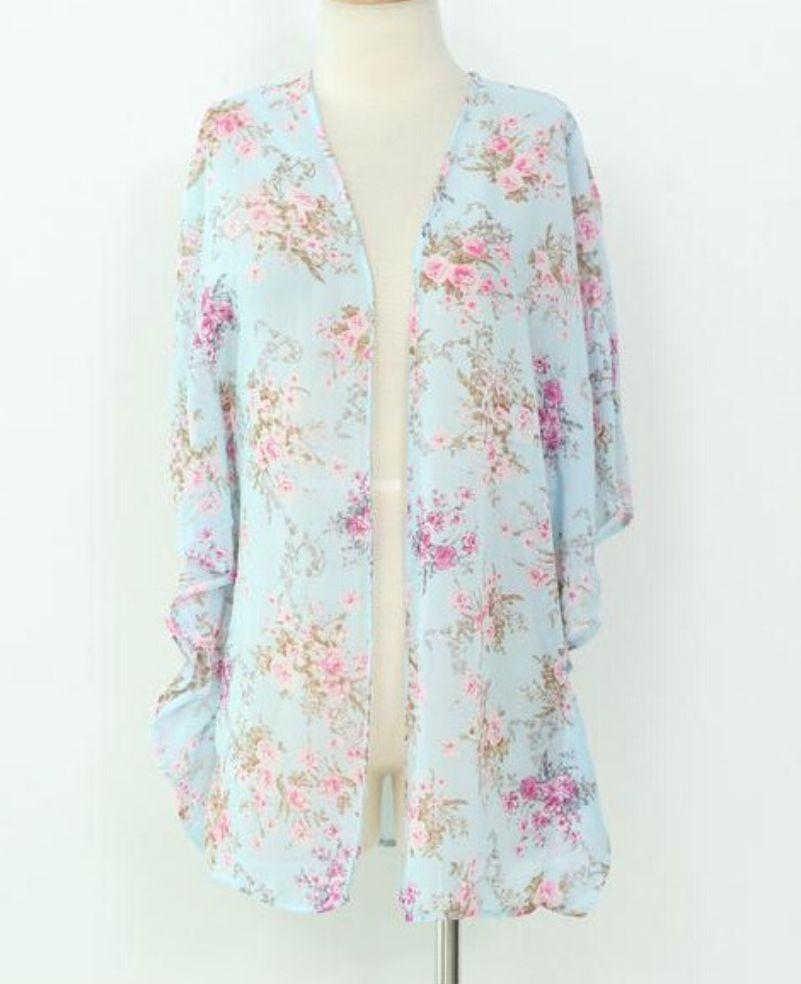 Spring Floral Chiffon Kimono, lightweight, batwing Runs small ...