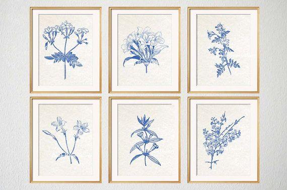 Blue Botanical Prints Blue Wall Art Vintage Botanical Prints Custom Botanical Plates Jasmine Prints Wall Art For Above Couch Set Of 6 Botanical Wall Art Floral Wall Art Botanical Prints
