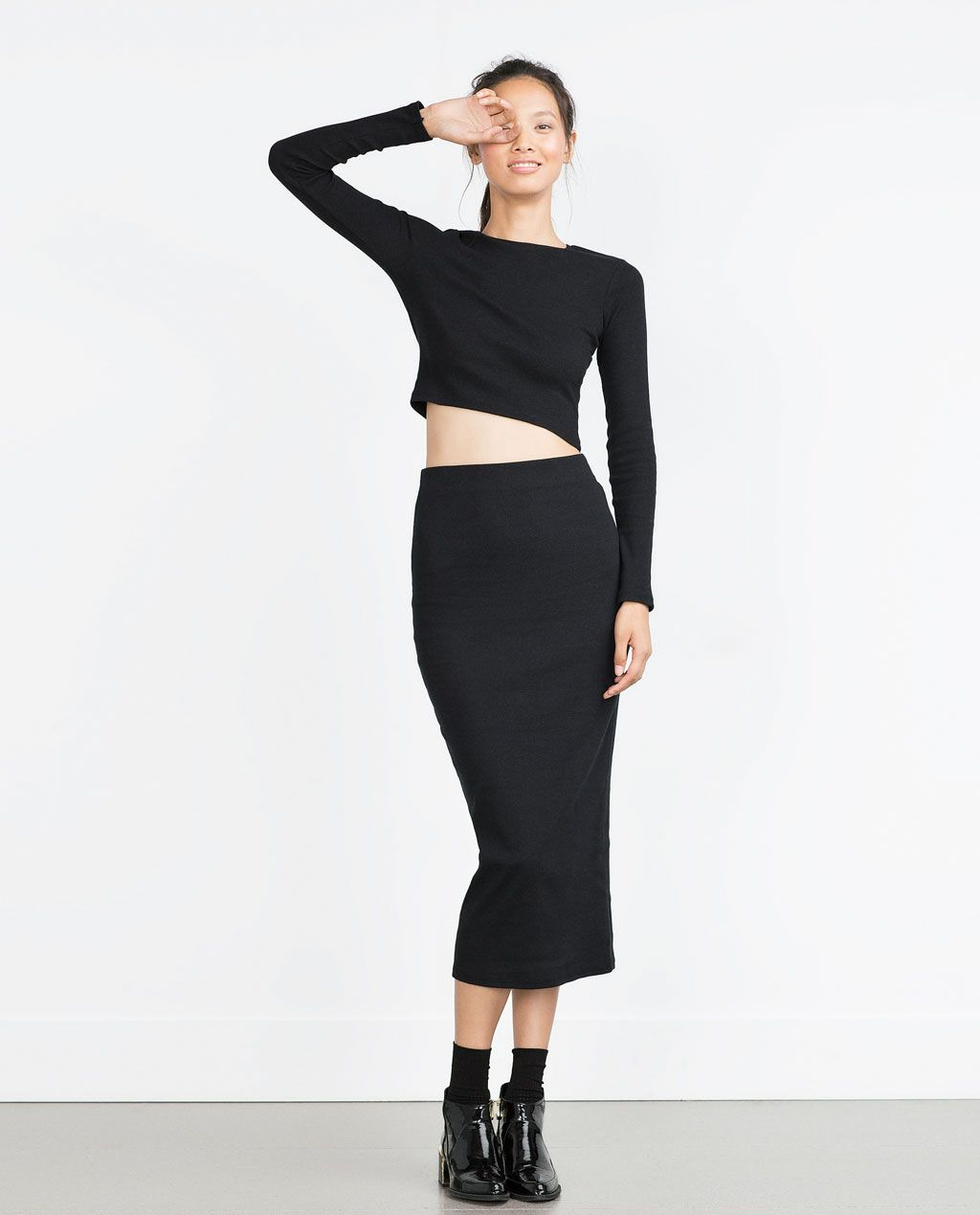 f29168f7 Image 1 of RIBBED CROP TOP from Zara | FALL LOOKS | Ribbed crop top ...