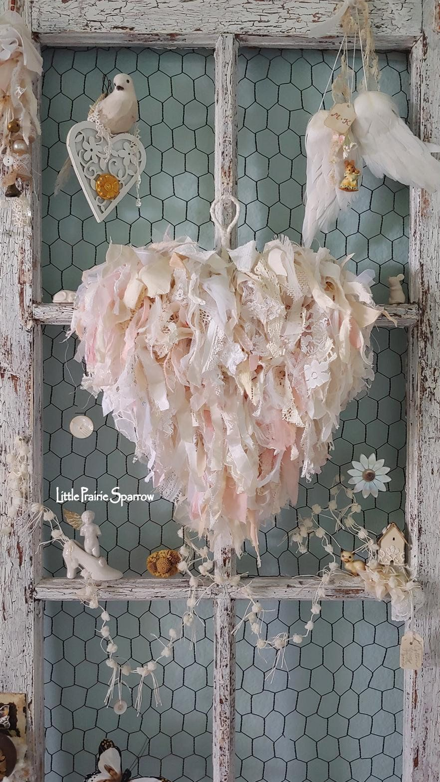 Handmade Shabby chic Loveheart mariage Nursery Garland Bunting