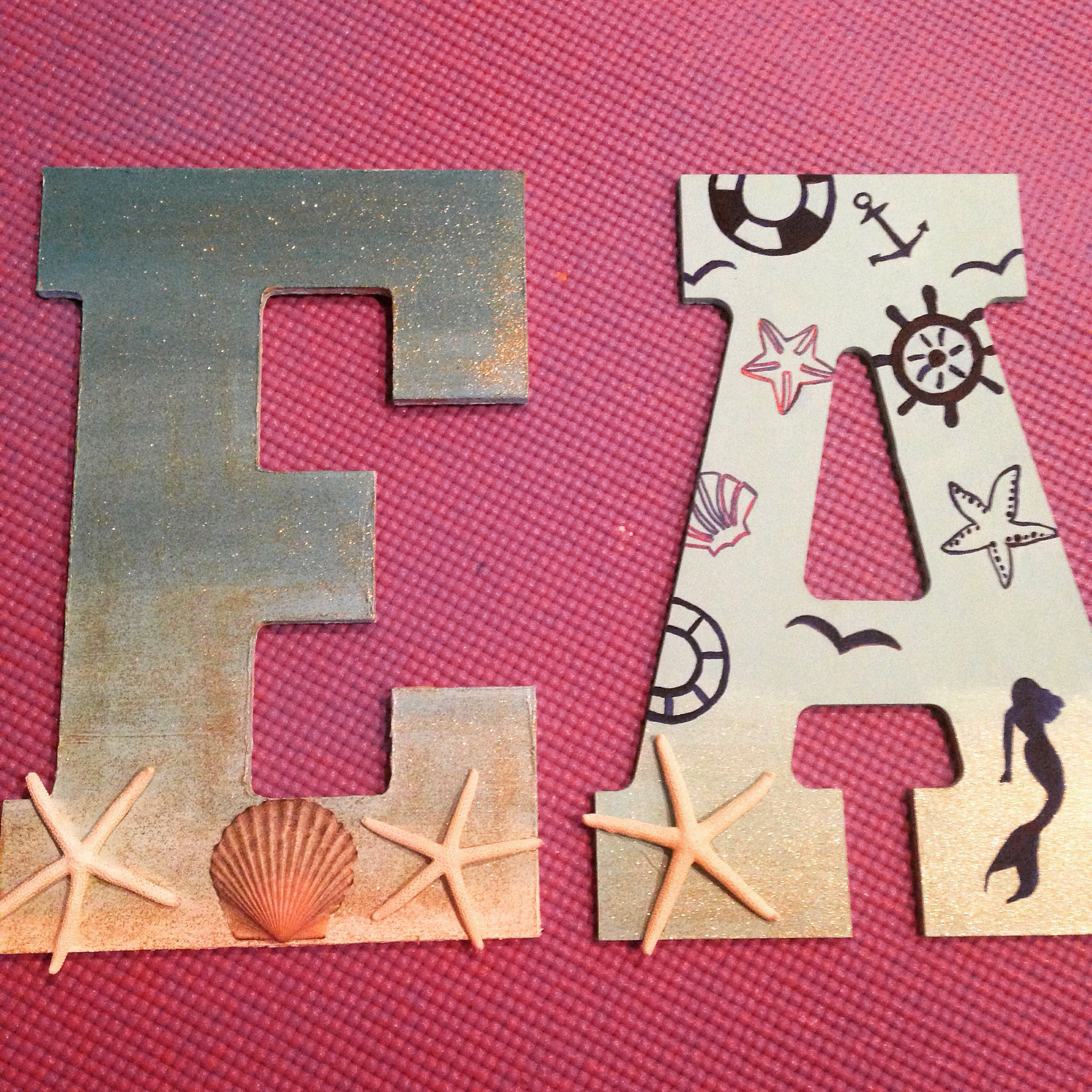 Beachy themed wooden letters for dorm room   Wooden ...