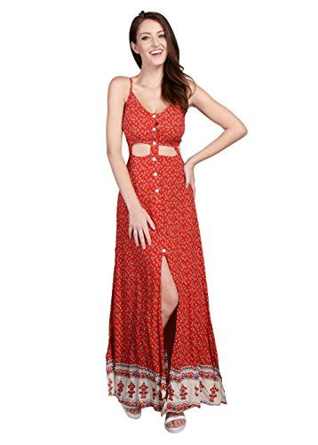 58a3c4c51d5 Wink Gal Womens Bohemian Sleeveless Cut Out Floral Print Maxi Dress Red  Size XS --