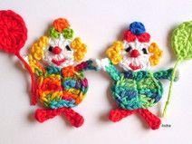 1 Clown gehäkelt Häkelapplikation Aufnäher