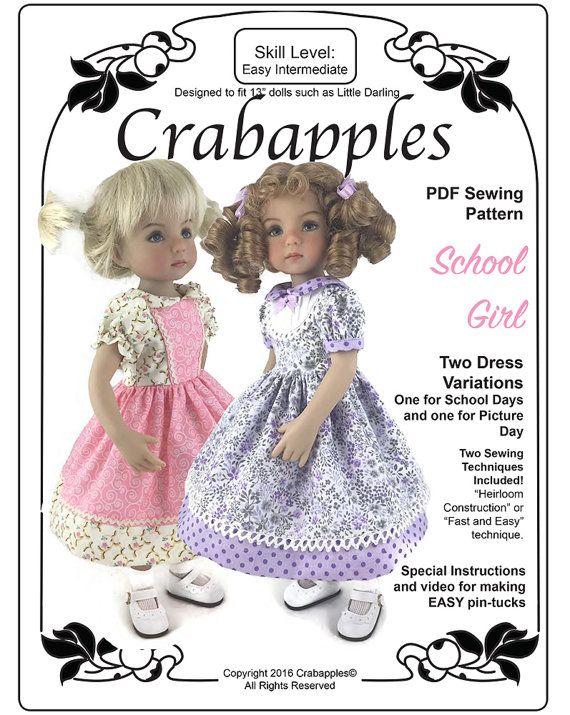 School Girl Dresses for Little Darling and other 13 dolls #instructionstodollpatterns