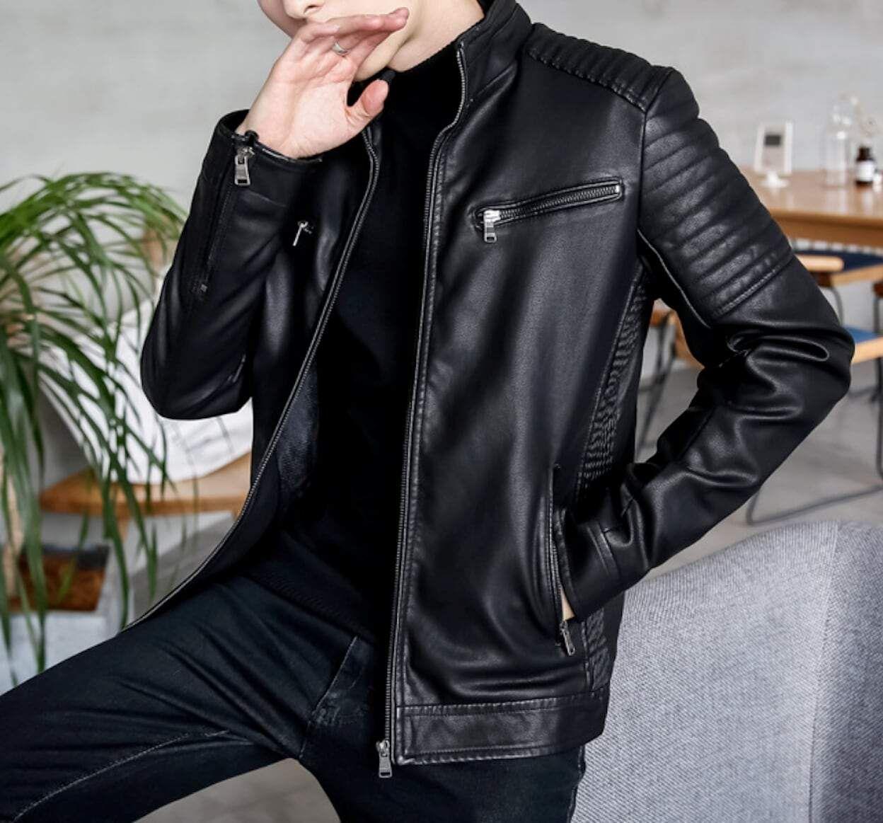 Description Mens Stand Collar Biker Jacket Fabric Faux Leather Fit Slim Fit Color Available Black Green Wine B Jackets Leather Jacket Leather Jacket Men [ 1163 x 1248 Pixel ]