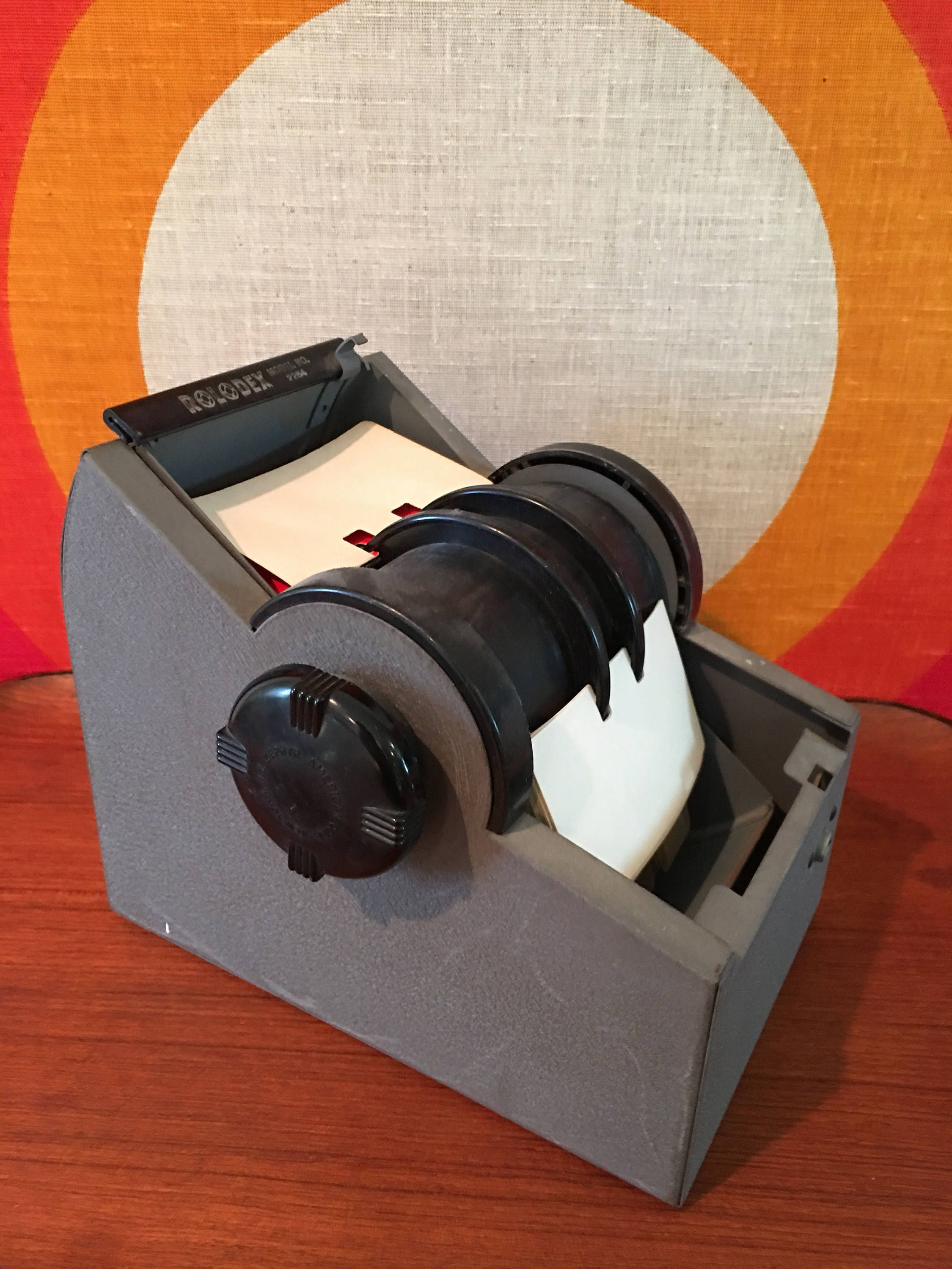 Vintage Mid Century Rolodex 2254, Rotating Business Card File Box ...