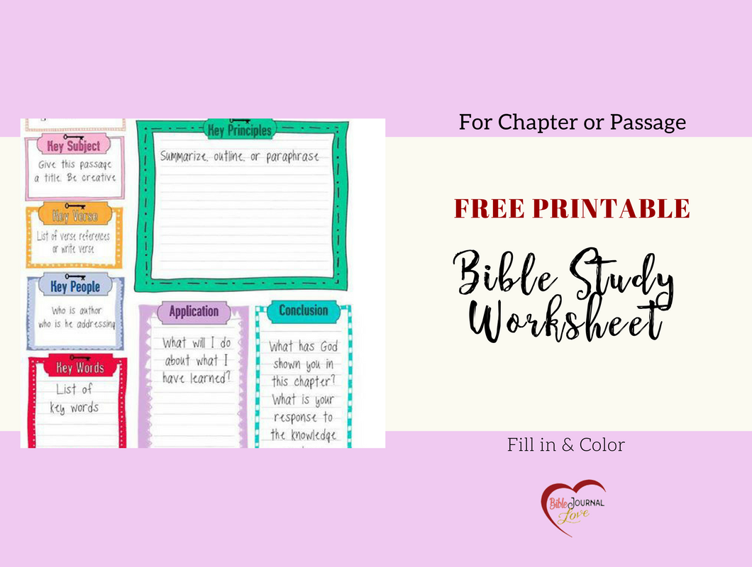 Free Bible Journal Key Worksheet
