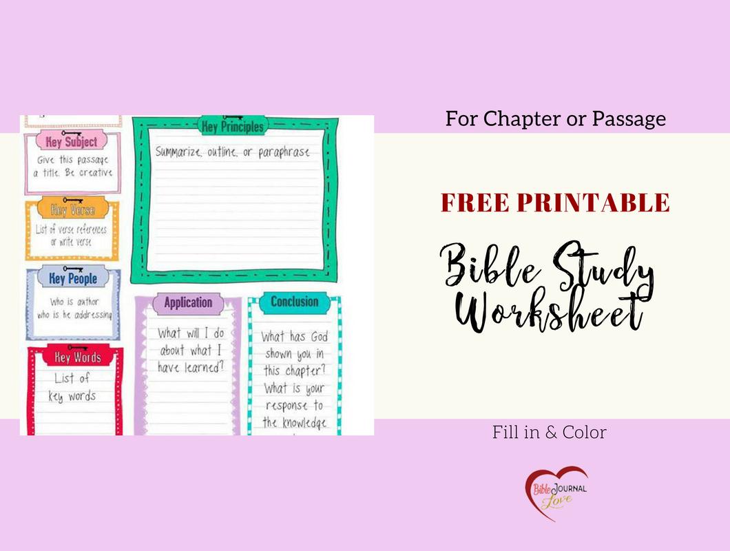 Free Bible Journal Key Worksheet