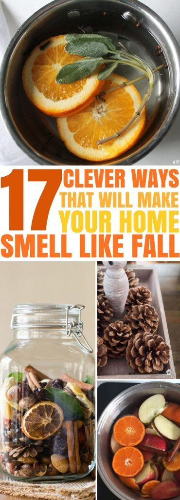 The BEST ways to make your home smell like Fall with these DIY Fall smell hacks! make air fresheners, candles, simmer pots and use essential oils or make potpourri to help you scent your house. #fallsmells #fallsmellhacks #diyfallsmells