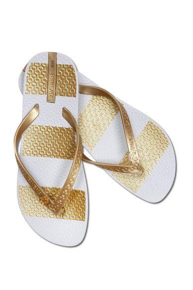 Gold Stripe Flip Flop