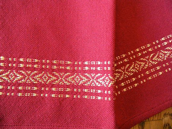 Hand Towel Handwoven Cranberry Red And Gold Bath Towel Finger
