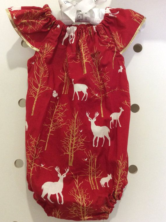 503ced77d Christmas Deer Red Romper size 000-2 ready to post. Baby outfit ...
