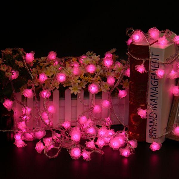 10M 100LEDs 8 Modes Pink White Rose Flower Fairy String Light for