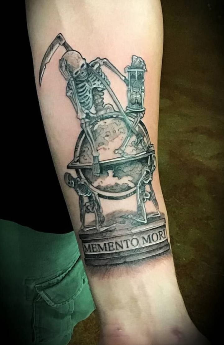 """Memento Mori"" tattoo done by Jose Lopez ARTillery"
