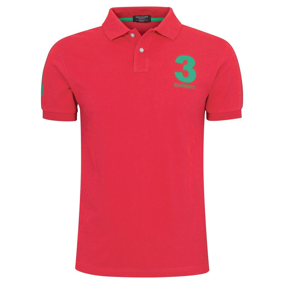 Mens Polo Pique Classic Shirt Numbered Sleeve Short Sleeve Big Pony Top T Shirt