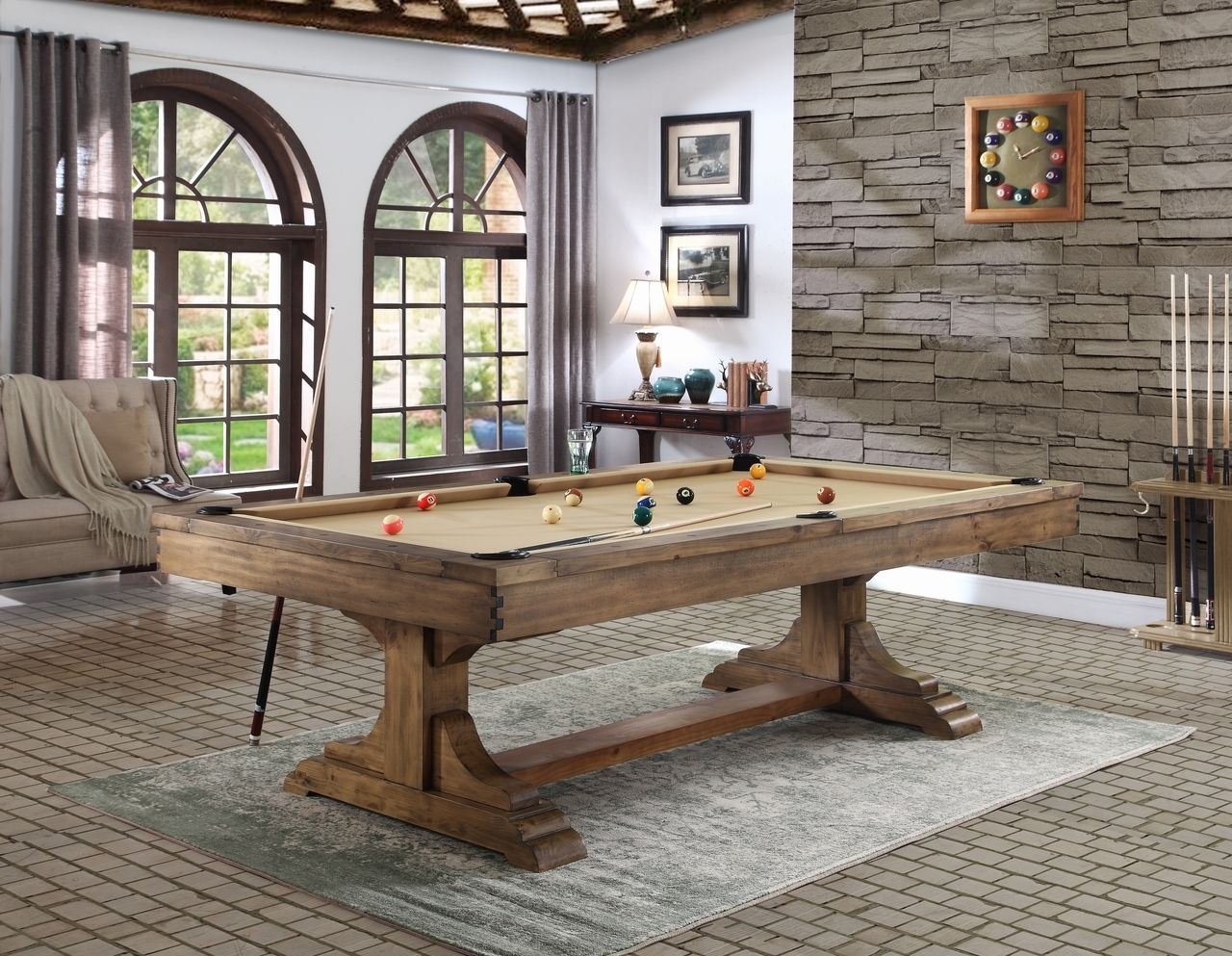 Dallas 8 foot pool table antique honey pool table room