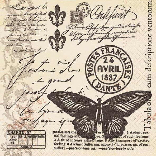 20 Servietten Butter-fly-mail - Schmetterling Vintage Deko Serviettentechnik   eBay