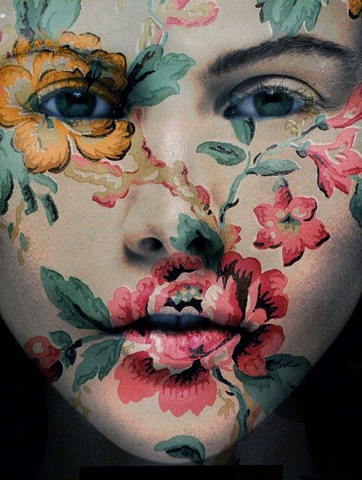 Reminds me of this photo of myself that I edited a few years ago where I added a floral overlay and it blended into the whole photo . Except this one is the real deal. ... maybe this person stole my idea. haha jk. I think this is where I got the idea. Now I'm gonna go find that pic.