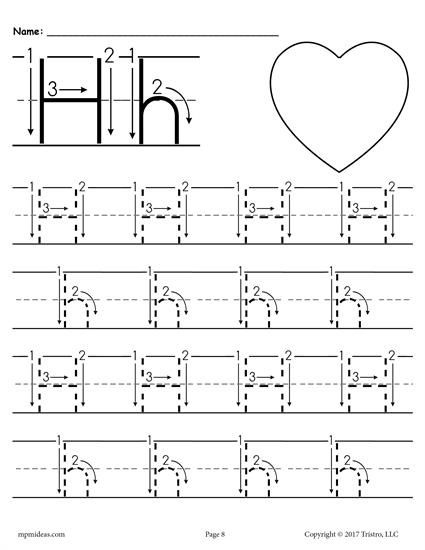 free printable letter h tracing worksheet with number and arrow guides alphabet tracing. Black Bedroom Furniture Sets. Home Design Ideas