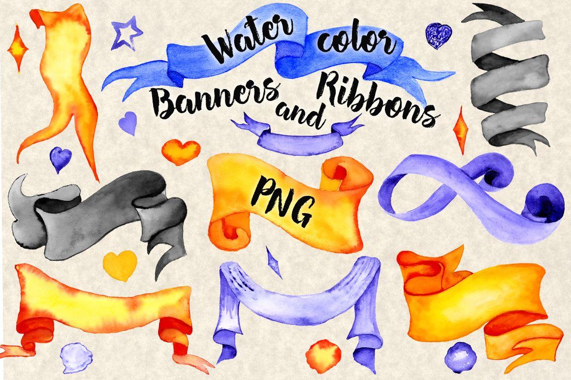 Halloween Watercolor Ribbon Banners