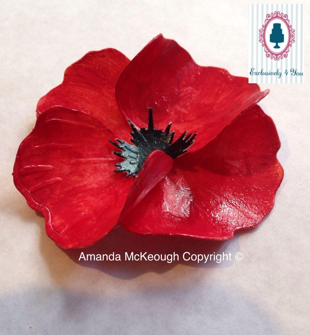"""""""Porcelain Poppy"""" made from fondant"""