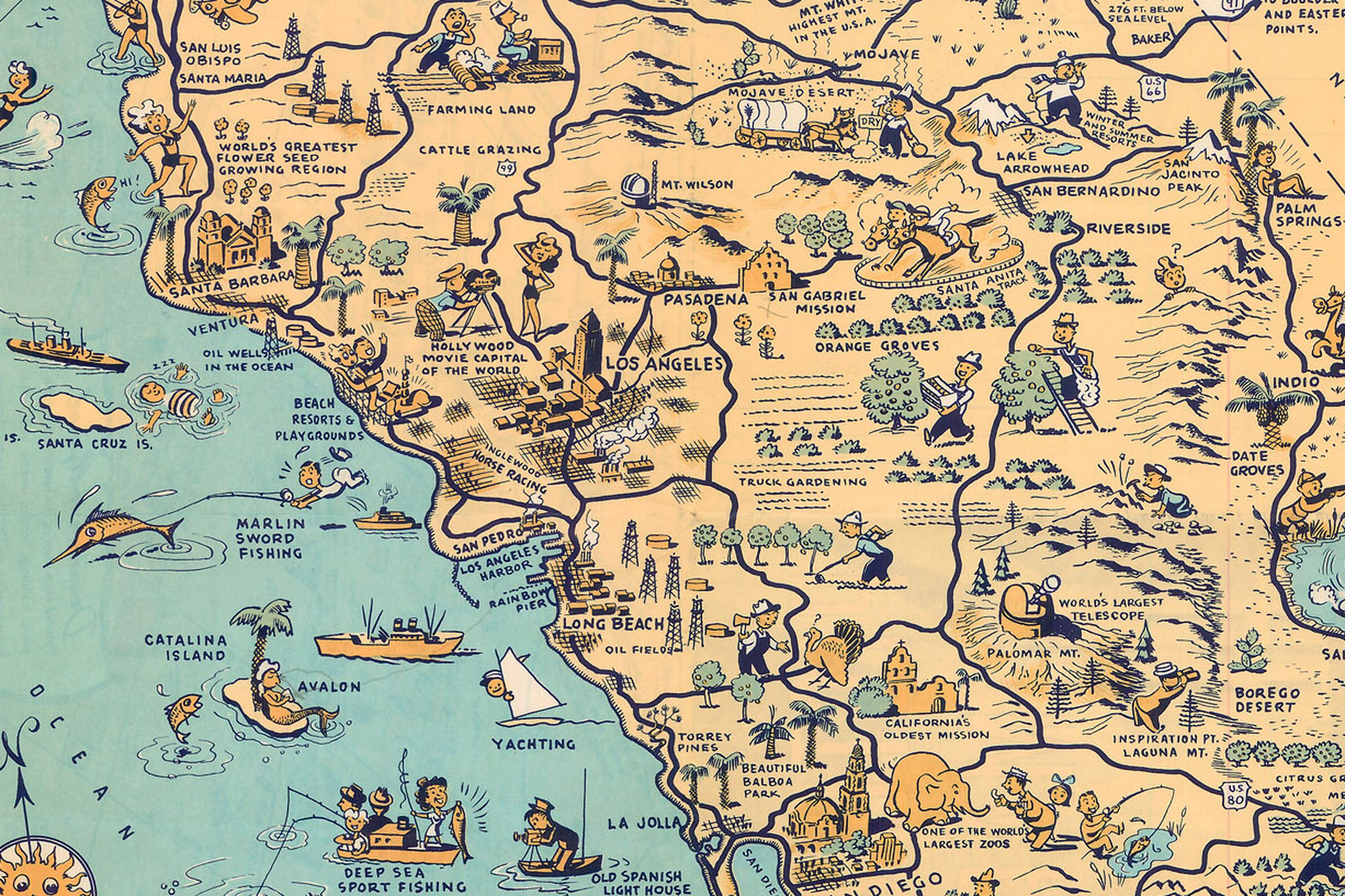 Whimsical old map depicts California at a