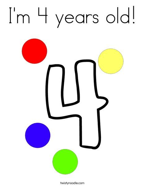 I M 4 Years Old Coloring Page Coloring Pages 4 Year Olds Blog Colors