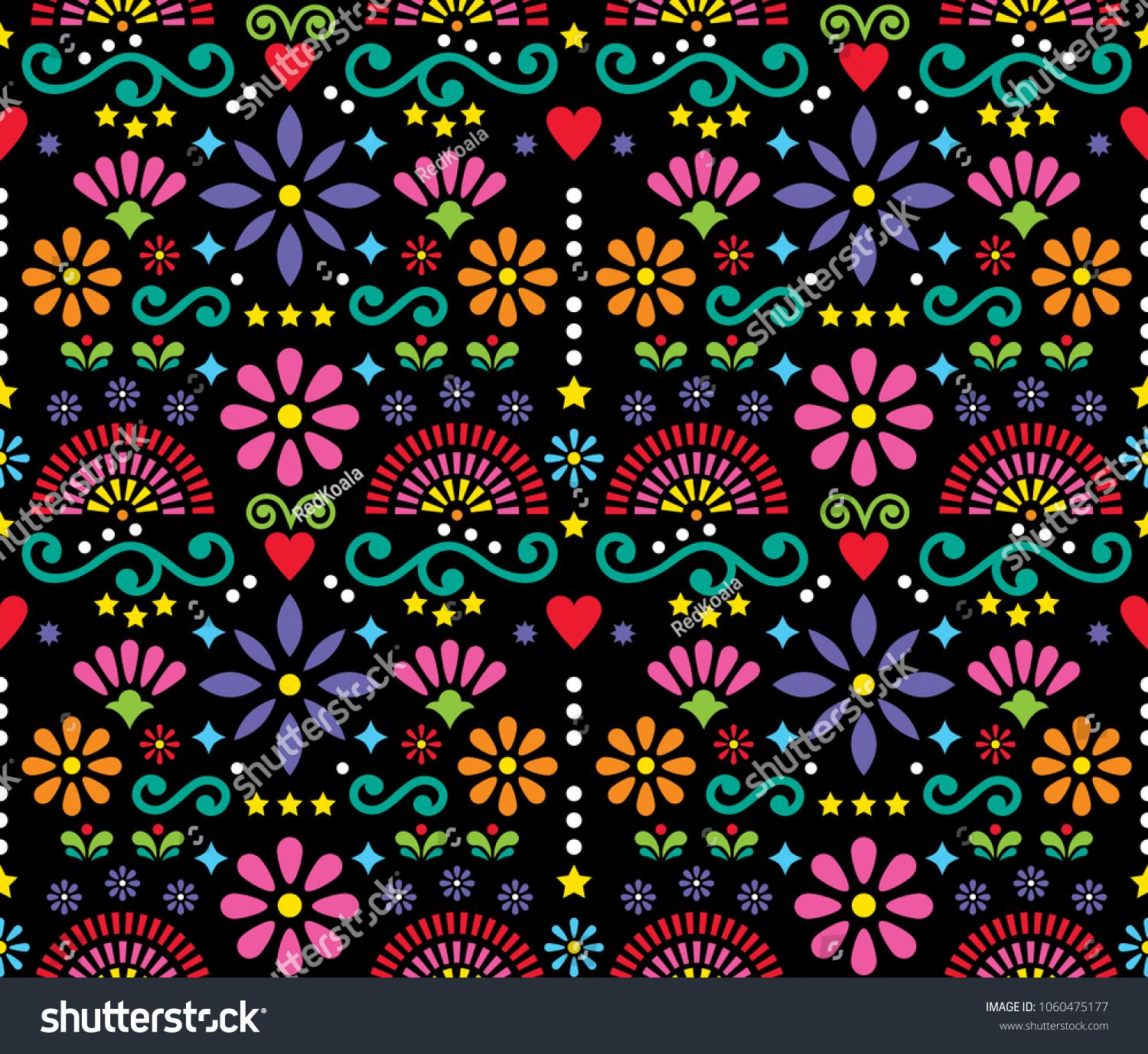 Mexican Folk Art Seamless Vector Pattern Colorful Design With