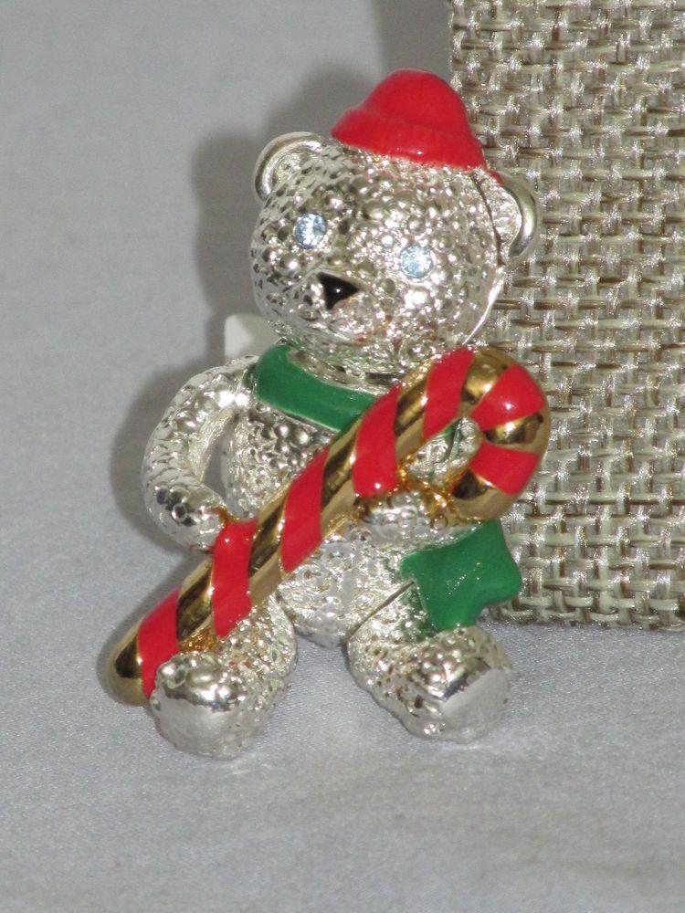 Vintage signed napier christmas candy cane bear pin jointed vintage signed napier christmas candy cane bear pin jointedmoveable wearable napier publicscrutiny Choice Image