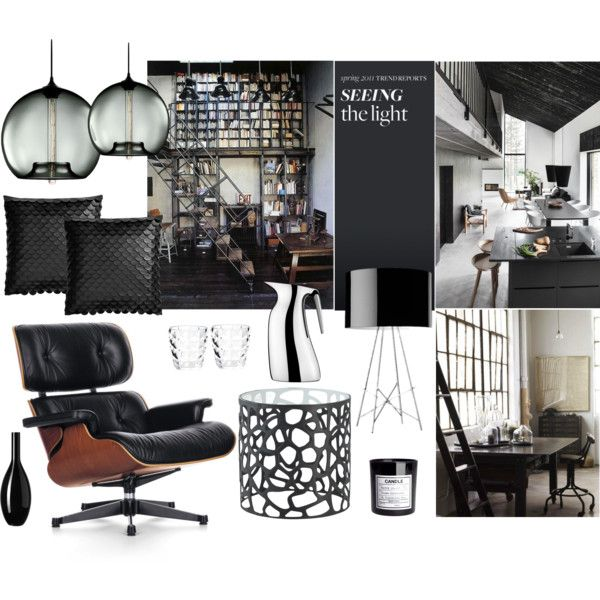 Modern Living by nmkratz on Polyvore featuring interior, interiors, interior design, home, home decor, interior decorating, Vitra, Flos, Georg Jensen and Zara Home
