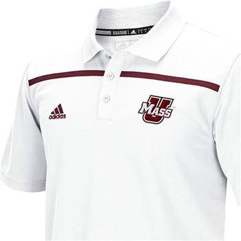 Massachusetts Minutemen Adidas University Of Massachusetts Amherst Football Sideline Coaches White Polo Mens Tops Polo Mens Polo Shirts