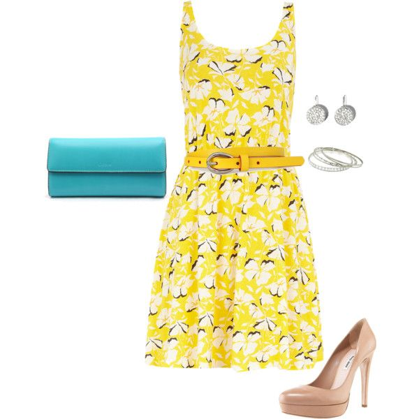 yellow floral, turquoise clutch, created by doodleluv on Polyvore
