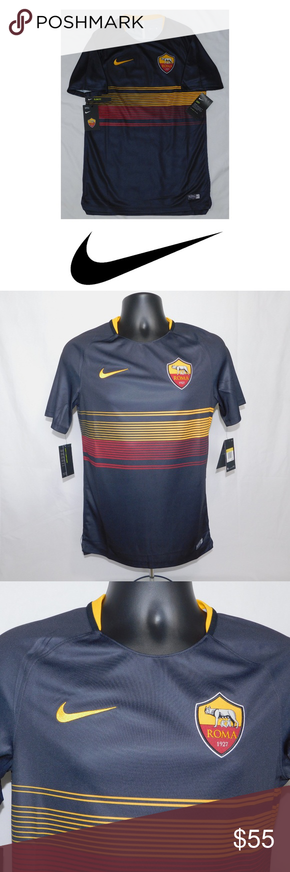 e84025a1b Nike AS Roma Squad Top Soccer Jersey Nike Roma 2018/19 Dry Squad GX  training jersey Size small 100% polyester Dri-FIT tech Slim fit Taped  collar Angle cut ...