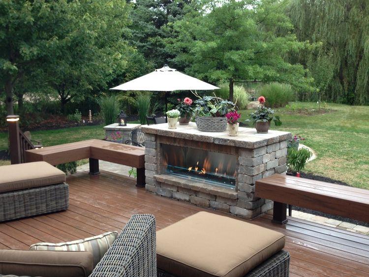 Outdoor Linear Fireplace Deck