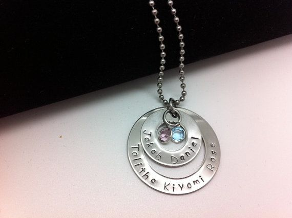 Stainless Steel  5 Name 2 Washer Hand Stamped by 3littlegems, $48.00