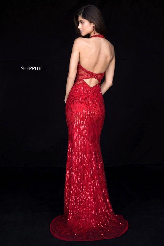 Sherri Hill 51948 Cherry Red Fitted Fully Beaded Dress Halter ...