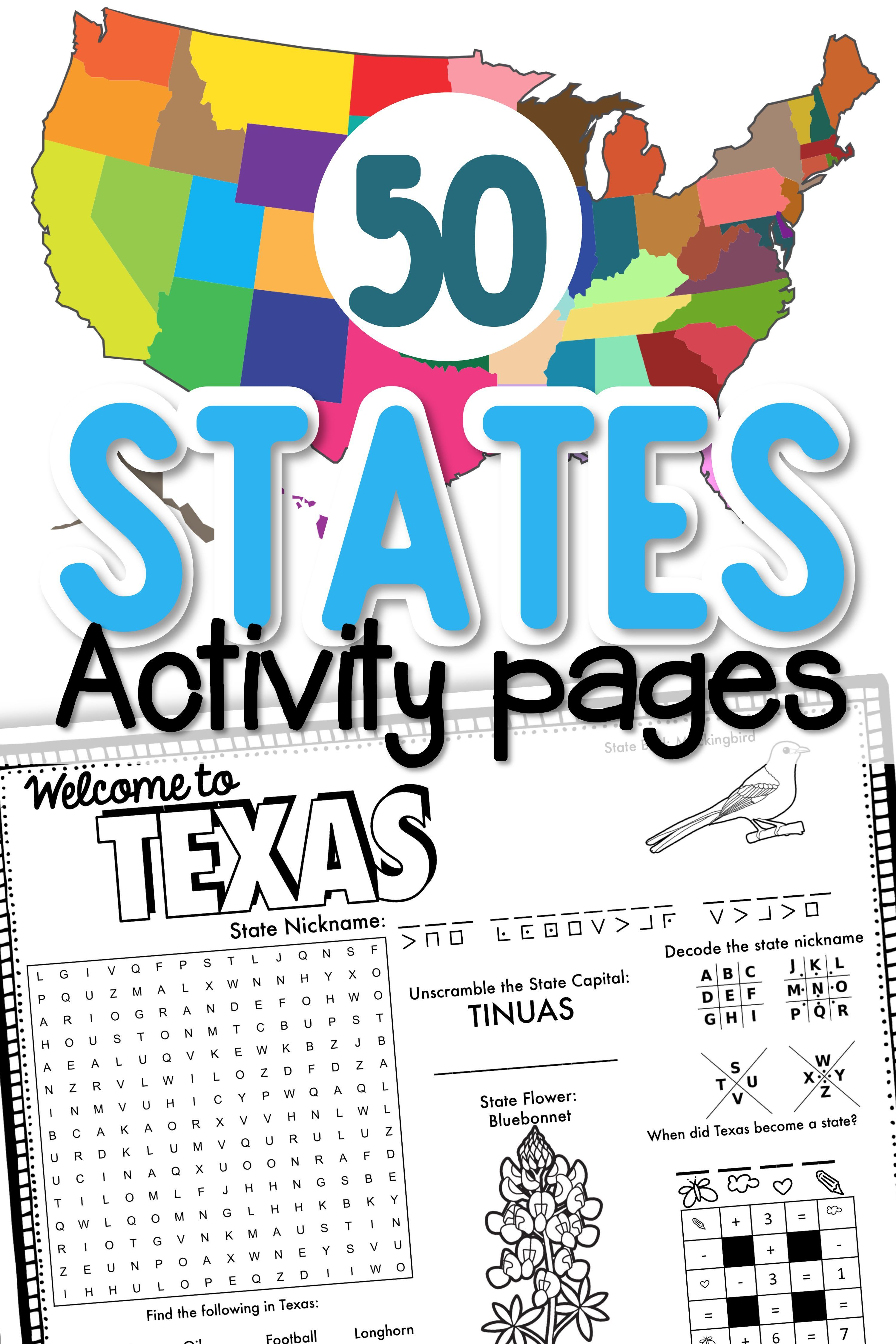 States And Capitals Puzzles And Worksheets