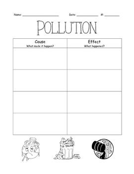 Pollution Cause and Effect Chart | Ideas for Third Grade | 4th grade